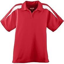 Augusta mujer con textura de absorción de humedad bloque de color camiseta deportiva de manga larga - 5087, Rojo/Blanco