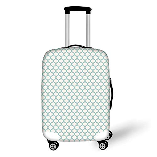 Travel Luggage Cover Suitcase Protector,Ikat Decor,Mesh Patterns and Lines on Vintage Background Ethnic Retro Ikat Style Boho Art Print,Light Blue Cream,for Travel,S Line Protector