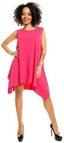 Capri Moda - Femme Midi Robe trapèze bords bruts col rond - sans manches - 50003 Fuchsia
