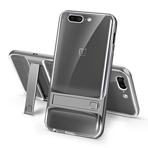 Sanchar's For 2in1 Kick Stand Shockproof Dual Layer Back Case Cover For Oneplus 5 / One plus 5 / 1+5 Case cover (Gray/transparent)