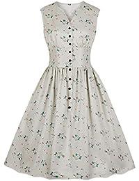 6d5d5e66e Wellwits Women's Split Neck Floral Button 1940s Day 1950s Vintage Tea Dress