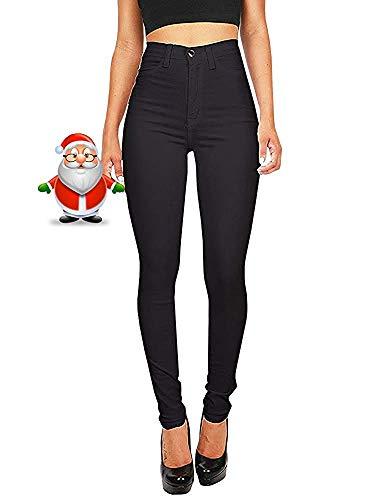 Hooleeger Damen Stretch High Waist Jeans Regular Fit Basic Jeanshose (S, Schwarz) Kleine Mädchen Jeans Schwarz
