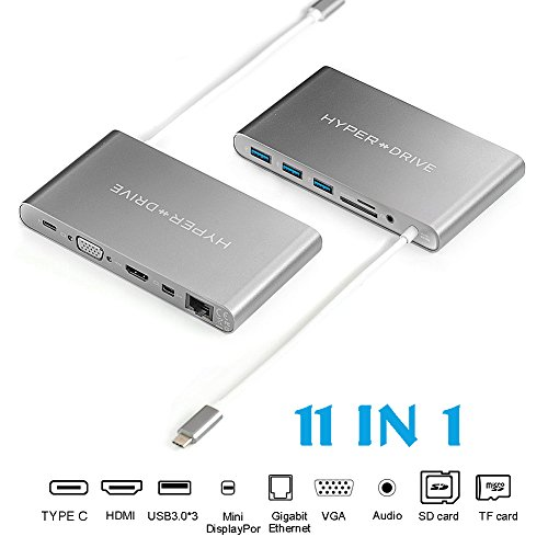 Hyperdrive Ultimate Macbook& PC USB-C HUB - 11in1 Multiport [USBC, VGA, HDMI, Ethernet, Micro SD/SD, Mini DisplayPort, 3x USB 3.1, Audio] Space Gray (Component-video-audio-combo-kabel)