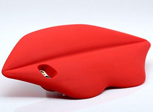 iPhone 6S Custodia, Hamyi iPhone 6 Cover Morbida Silicone Motivo Moda 3D Sexy Lips Labbra Protettiva Case per Apple iPhone 6/6S (Schermo da 4,7 pollici) (Rosso) Rosso