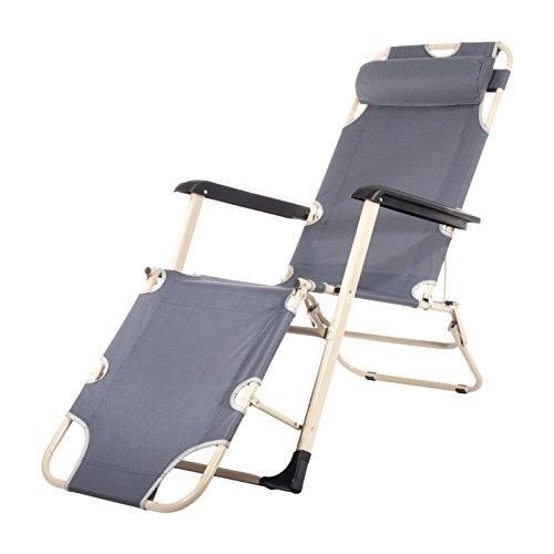 Smartfox Sonnenliege Liegestuhl Gartenliege Strandliege 4 Sitz-/Liegepositionen ca. 180 cm in grau