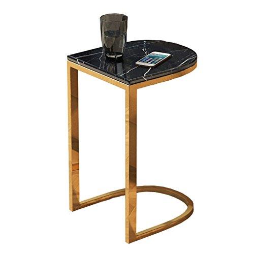 Couchtisch Kaffeetisch Esszimmertische Marmor Gold Metall Chassis Couchtisch Sofa Wohnzimmer Haushalt 45 * 35 * 60cm Tingting (Farbe : Schwarz)