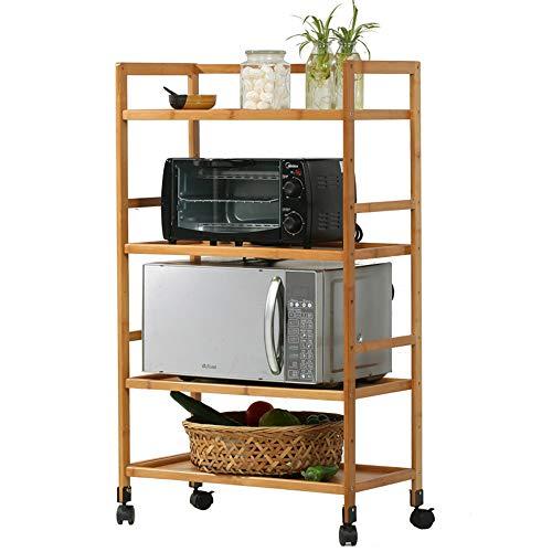 Küchenregal Stehender Mikrowellen-Rost, Küchenrost aus Massivholz, (vierlagiger) Ofenrost/Topfrost/Regal -