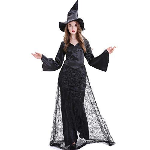 Fashion-Cos1 Frauen Vampir Kostüm Gothic Schwarz Kleider Frauen Halloween Vampir Hexe Cosplay Karneval Kostüm Plus Größe (Size : M)