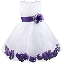 Freebily Vestido Elegante Boda Fiesta con Flores para Niña Vestido Blanco de Princesa para Chica Dama de Honor