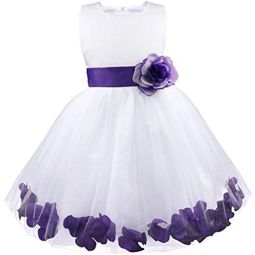 445c885a7 Freebily Vestido Elegante Boda Fiesta con Flores para Niña Vestido Blanco  de Princesa para Chica Dama de Honor