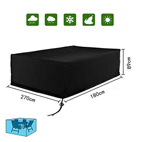 Diossad - Funda Protectora para Muebles de jardín, Impermeable, Color Negro, Textil, 270x180x89cm