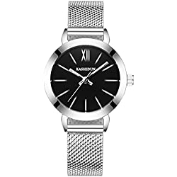 fashion steel Women Watch/Simple girls waterproof watch/ ladies quartz watch and leisure-D