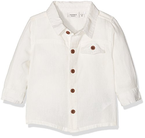 NAME IT Baby-Jungen Hemd Nitmagnus Lin LS Shirt Mznb Ger, Weiß (Snow White), 74