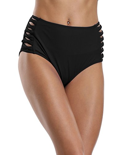 8285f5a40d CharmLeaks Womens Retro High Waist Bikini Briefs Tankini Bottoms Swimwear  Swimming Costume