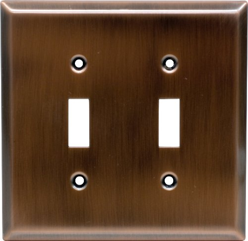 GE 57383 Antique Copper Traditional Double Switch Wall Plate by GE -