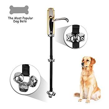 Training cloches de porte ,JUSTIME House formation pour sonnettes,Longueur Réglable Doggy Bells pour la maison Formation Petite moyens et grands chiens Dog (Noir)