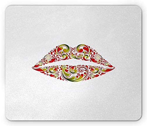 Kiss Mouse Pad, Lush Lips with Red and Green Leaf Pattern Artistic and Floral Abstract Display, Standard Size Rectangle Non-Slip Rubber Mousepad, Red Green White - Lush Lip
