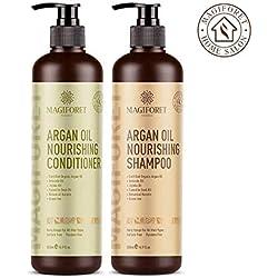 Magiforet Huile d'argan Shampooing et revitalisant (2 x 16,9 oz) - Bio Sans sulfate Sans Paraben - doux et lisses, doux pour les cheveux bouclés et colorés, pour homme et femme