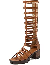 SHINIK Sandalias de las mujeres de tacones abiertos de estilo hueco Combinación de alto Rosay romano botas de zapatos gruesos , yellow , 36