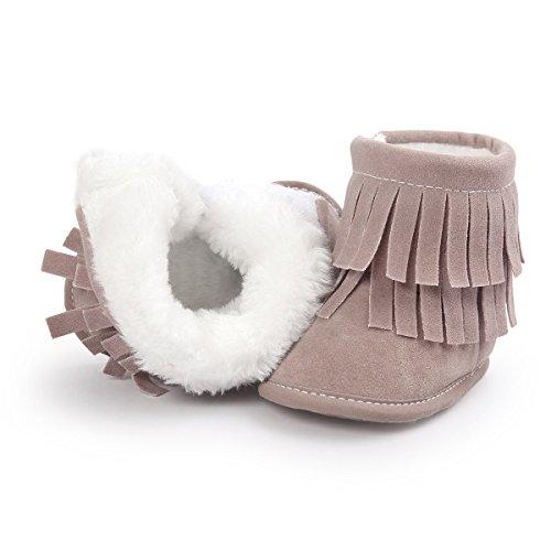 Auxma Pour bébé 0-18 mois,Chaussures bébé Garder chaud Tassels double doux bottes de neige (0-6 M, Gris clair) Gris