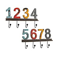 Wusuowei Country retro digital color wrought iron wall hanging wall home decorations hooks hanging ornaments coat hooks a pair of 40 * 24 * 3cm