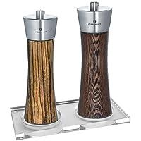 Zassenhaus Pepper & Salt Mill Set, Wenge / Zebrawood, 7.0 Inch with Stand