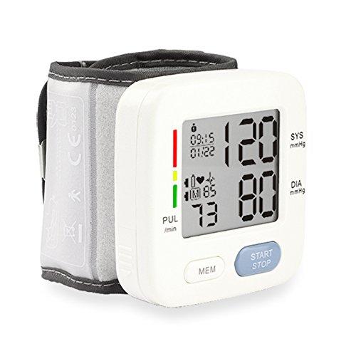 Handgelenk-Blutdruckmessgerät, Digital-BP-Monitor mit Speicher, intelligente LCD-Display automatisch messen Puls diastolischen systolischen und zeigt Bluthochdruck Ebene, Handgelenk Gurtlänge 17cm (Blutdruck Armmanschette Automatische)