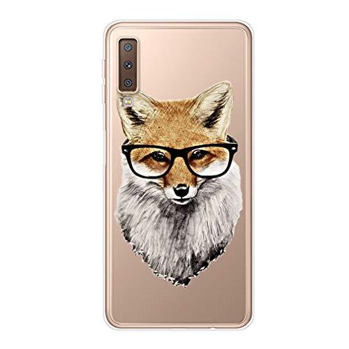 Karomenic Silikon Hülle kompatibel mit Samsung Galaxy S10 Kreative Cartoon Transparent Handyhülle Durchsichtig Schutzhülle Crystal Clear Weiche Soft TPU Tasche Bumper Case Etui,Brille Fuchs