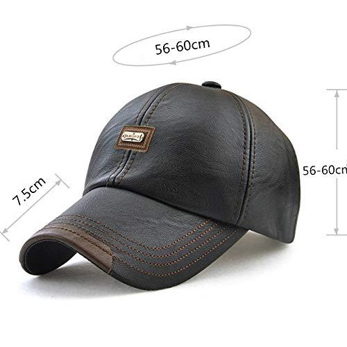 Imagen de wiemoon 1pcs 56 60cm  de béisbol para hombre sombrero de invierno sombrero de cuero de la pu hueso equipado negro alternativa
