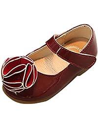 Niñas Zapatos de Velcro Princesa Plana Antideslizante Sandalias Bailarinas Flor Mary Jane Escolares Rose EU 25/Longueur du Pied:15.5CM
