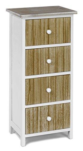 ts-ideen Design Kommode Schrank Holz weiß und Natur Standregal zur Aufbewahrung -