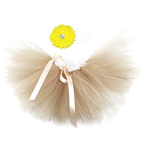 Honeystore Baby Fotoshooting Kostüm Haarbänder Rock Set Foto Outfit Stirnbänder Farbenfroh Tütü Balletrock Mini Unterrock Fotografie Verkleidung One Size Champagner mit Chrysantheme