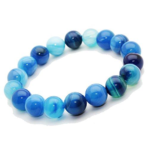 Bracelet Agate Bleu pierre semi précieuse perles 10 mm. Pierre APAISANTE