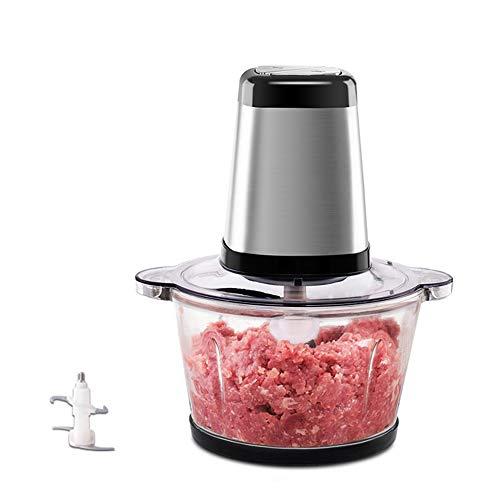 Zhongxingenggeng Fleischwolf Gemüsehacker Nahrungsmittelzerhacker Knoblauch-Zerhacker-Haushalt-elektrische Kleiner Edelstahl Multifunktions-Mixer 2L Küchenmaschine 200W