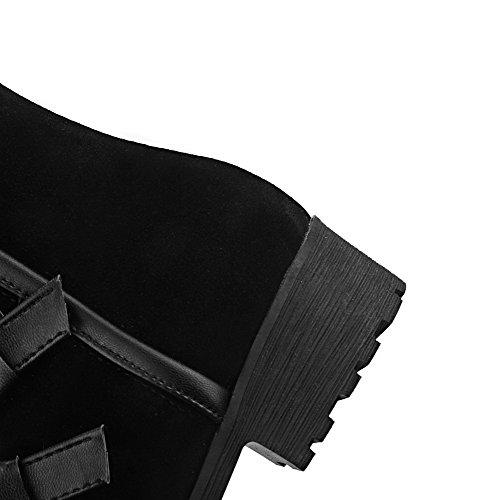 AllhqFashion Damen Hoch-Spitze Reißverschluss Niedriger Absatz Stiefel mit Metallisch Schwarz