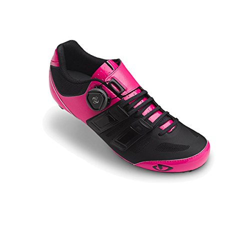 Giro Damen Raes Techlace Road Radsportschuhe-Rennrad, Mehrfarbig (Bright Pink/Black 000), 36 EU -