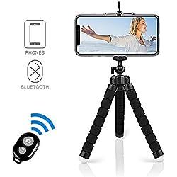 """Alfort Trépied Portable, Mini Trépied Flexible Bluetooth avec Télécommande 360°avec Vis 1/4"""" pour iPhone 8/8 Plus/7/7 Plus,Samsung Galaxy S7/S7 Edge,Huawei,Sony Xpéria,et etc, jusqu'à 5.5"""""""