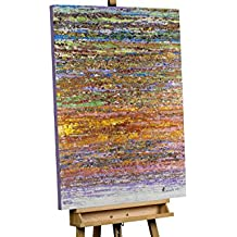 KunstLoft® cuadro acrílico 'Nunca pierda el hilo' 75x100cm | Original pintura XXL pintado a mano en lienzo | Abstracto marrón y de colores | Mural acrílico de arte moderno en una pieza con marco