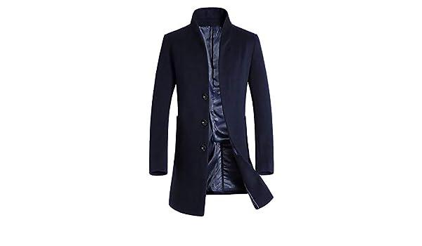 TIMEMEAN Mens Overcoat Long Jacket Warm Winter Trench Button Smart Outwear Navy Large