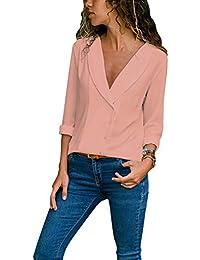 eebdbbc80df33 Minetom Mujeres Blusas Camisas Retro Cuello En V Manga Larga Tops Chiffon  Shirt Otoño Moda Atractivo