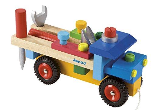 Janod–Jouet en Bois–Camion à Assembler de outils après ziehbar redmaster 17pièces accessoires, multicolore