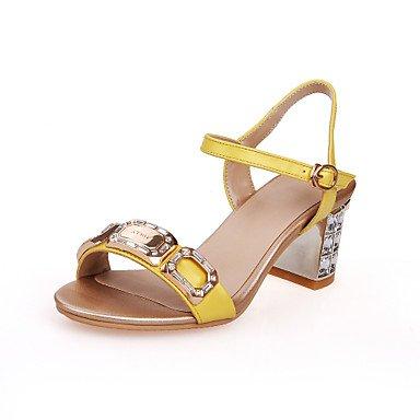 LvYuan Sandali-Matrimonio Formale Serata e festa-Club Shoes-Quadrato Tacco in cristallo-Pelle-Giallo Dorato Yellow