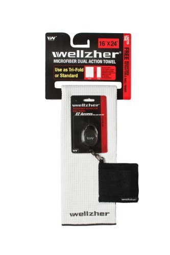 wellzher-premium-microfiber-dual-action-golf-towel-16x24-with-free-retractable-golf-ball-towel-white