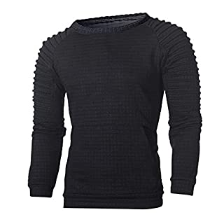 Men's Sweatshirt Sunday77 O-Neck Solid Fold Plus Size Long Sleeve Pullover Outwear Tops Blouse Autumn Winter Pullover Outwear