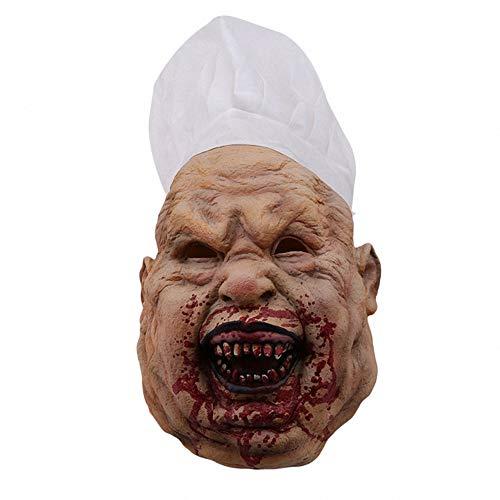 Chef Männlichen Kostüm - AUKBEC Halloween Scary Realistische Maske Creepy Horror Bloody Zombie Terror Evil Cosplay Dead Dekoration Bösewicht Neuheit Verkleidung Masken Erwachsene Burlesque Film Requisiten,Chef