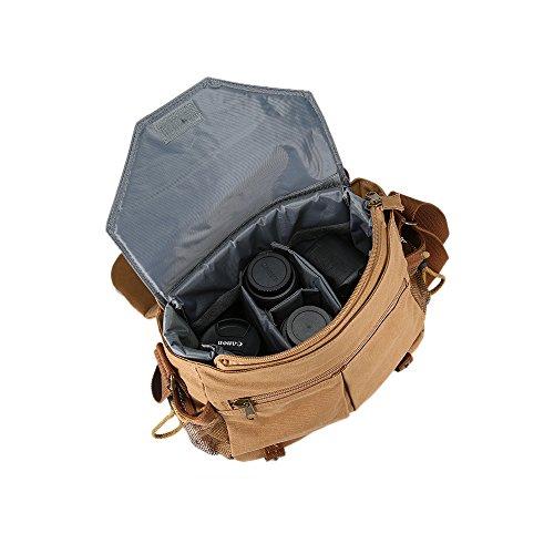 Borsa a Tracolla Fotocamera tela, Beaspire Borsa messenger per fotocamera reflex e accessori (Marrone2) Gamba