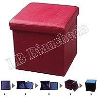 Puff contenitore poggiapiedi - Sgabello con coperchio cm 38x38x38 tinta unita tipo Coccodrillo - Bordeaux