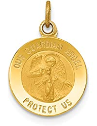 14k Yellow Gold Guardian Angel Medal Pendant Charm Necklace Religious Fine Jewelry For Women Gift Set