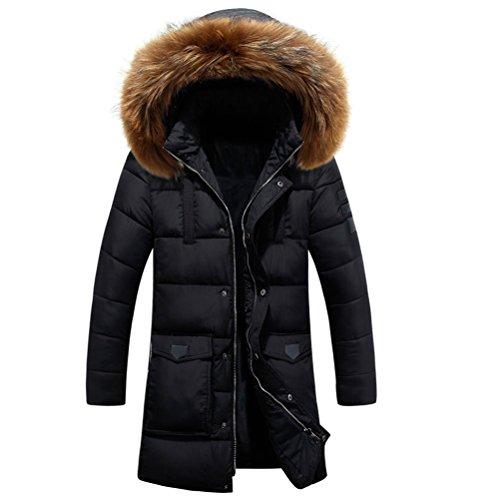 Zhhlaixing Klassisch Winter Mens Windbreaker Jackets Warm Outerwear Detachable Hat Long Hooded Coats Black