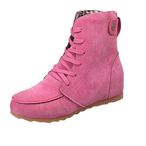 Rawdah Chaussures à Lacets En Laine Pour Femme Bottes En Motoneige En Cuir FéMinin En Daim (38EU, rose)